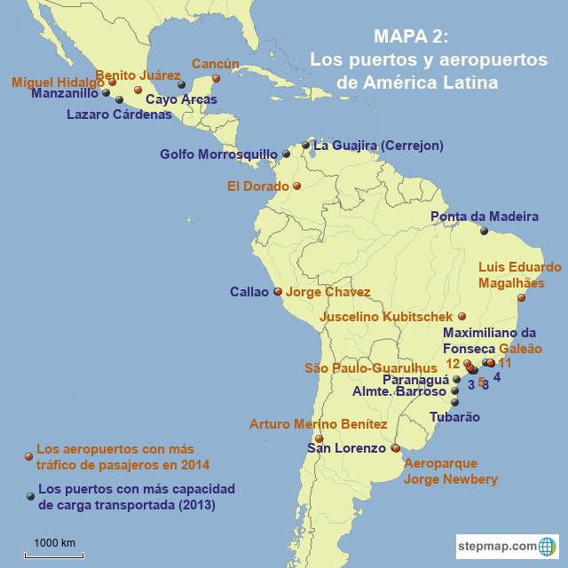 StepMap - Mapa 2: Puertos y aeropuertos de América Latina ...