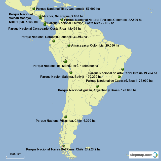 StepMap - Mapa 3 de América Latina: parques nacionales ... on caribbean map, spain map, asia map, culture map, puerto rico map, world map, peru map, nature map, australia map, africa map, estados unidos map, mexico map, general map, environment map, middle east map, deutschland map, bangladesh map, europe map, colombia map, amazon map,