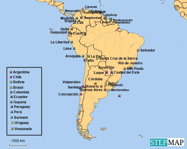 StepMap - Mapa 5. Sur América - Landkarte für Argentina
