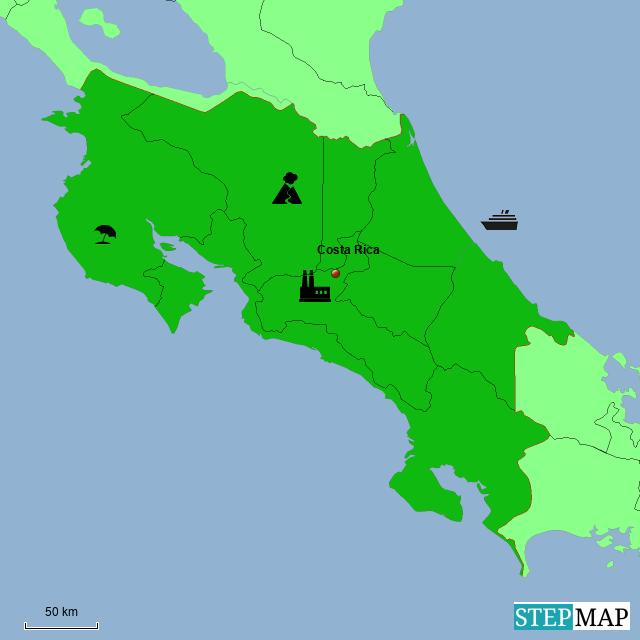 Mapa De Costa Rica.Stepmap Mapa Costa Rica Examen Landkarte Fur South America