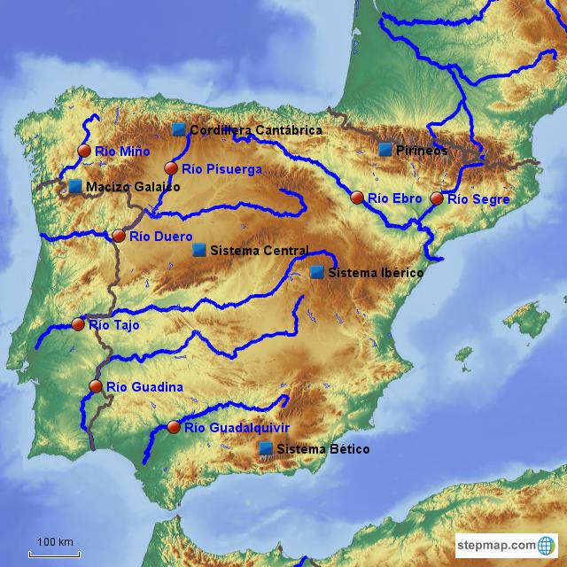 Mapa Fisico Peninsula Iberica Rios.Stepmap Mapa Fisico De Espana Landkarte Fur Spain