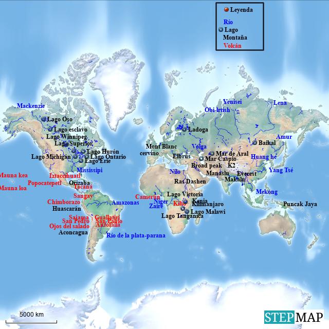 Rio Mekong Mapa Fisico.Stepmap Mapa Fisico Mundo Landkarte Fur Germany