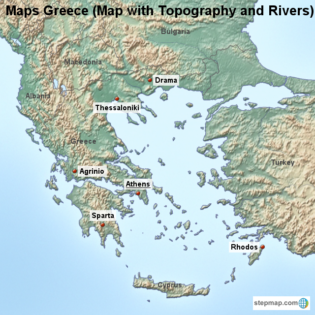 Stepmap Maps Greece Map With Topography And Rivers Landkarte