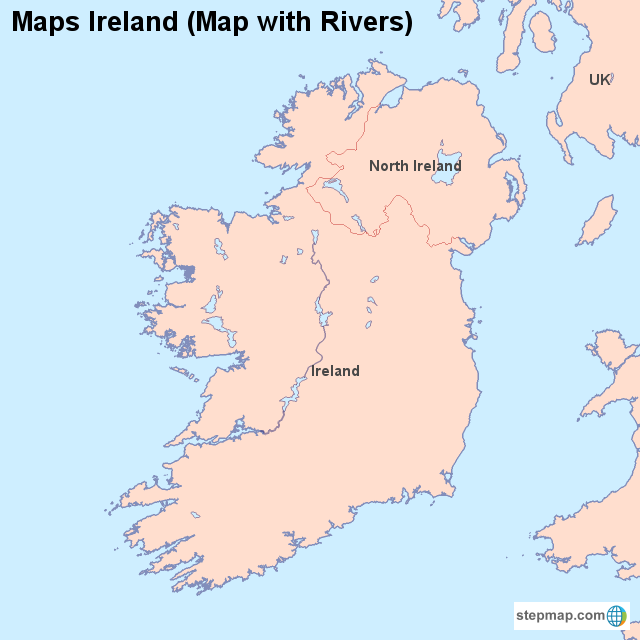 Map Of Ireland With Rivers.Stepmap Maps Ireland Map With Rivers Landkarte Fur Ireland
