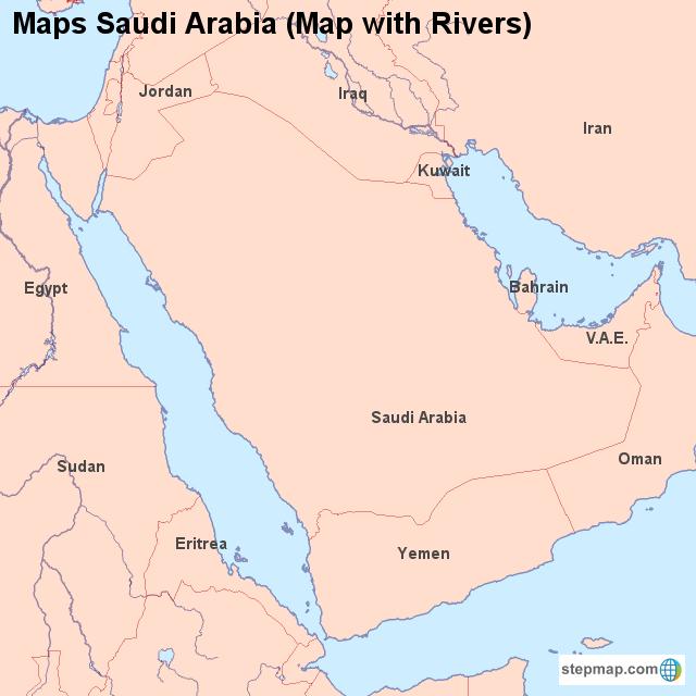 StepMap - Maps Saudi Arabia (Map with Rivers) - Landkarte für Saudi ...