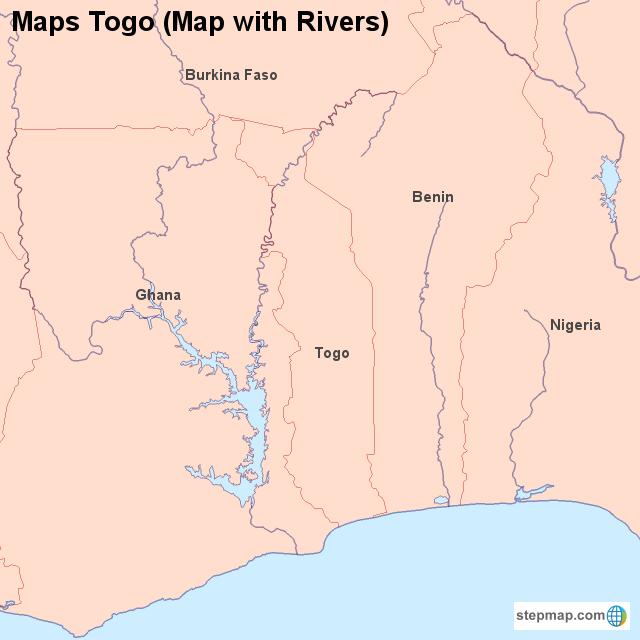 StepMap - Maps Togo (Map with Rivers) - Landkarte für Togo