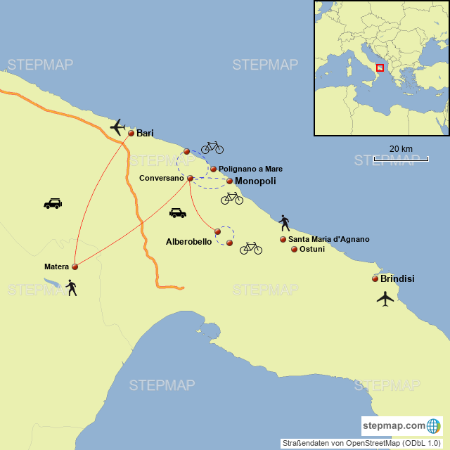 Stepmap Matera Cycling Tour Landkarte Fur Italy