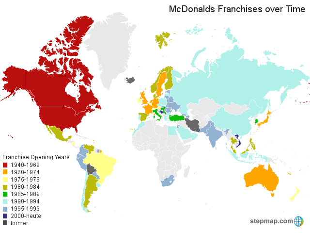 Stepmap Mcdonalds Franchises Over Time Landkarte Fur World