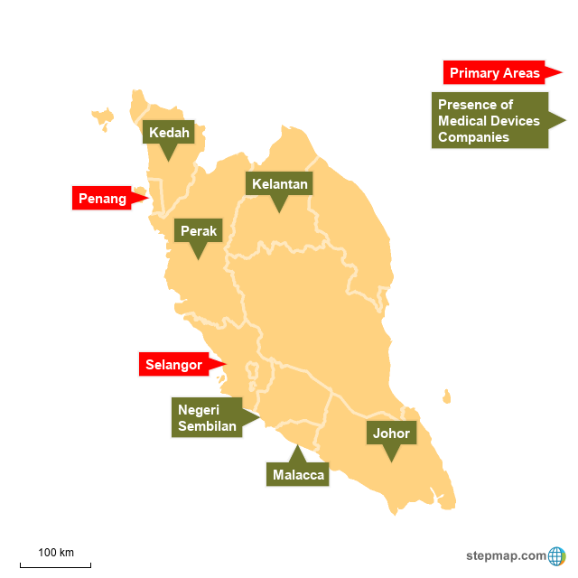 StepMap - Medical Devices Industry in Malaysia - Landkarte
