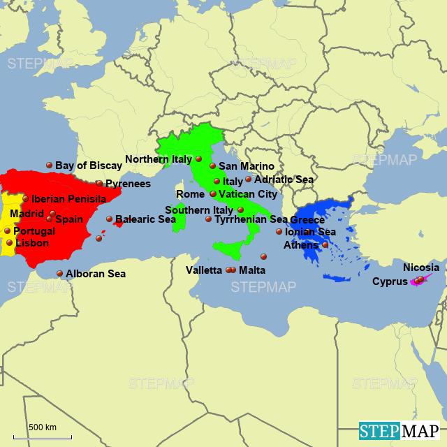 StepMap - Mediterranean Europe or Southern Europe - Landkarte für ...