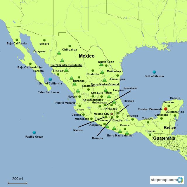 Stepmap Mexico Landkarte Fur North America