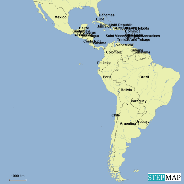 Stepmap Mexico Middle America South America Countries Landkarte