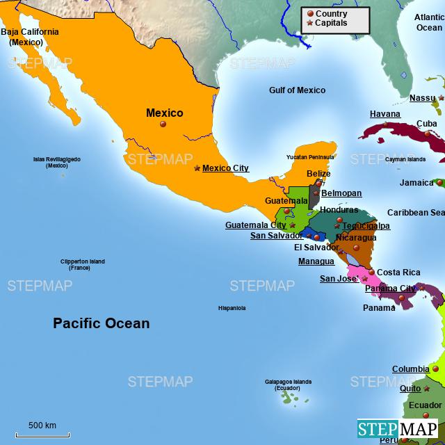 Panama Mexico Map.Stepmap Mexico Panama Latin America Map Dropbox Landkarte Fur