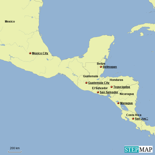 StepMap - Mexico and part of Central America - Landkarte für ...