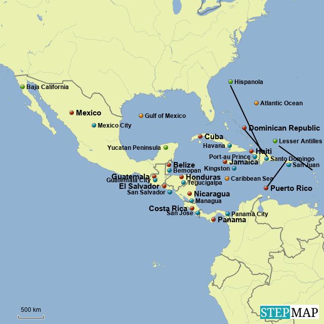 Stepmap Middle America Map Landkarte Fur South America
