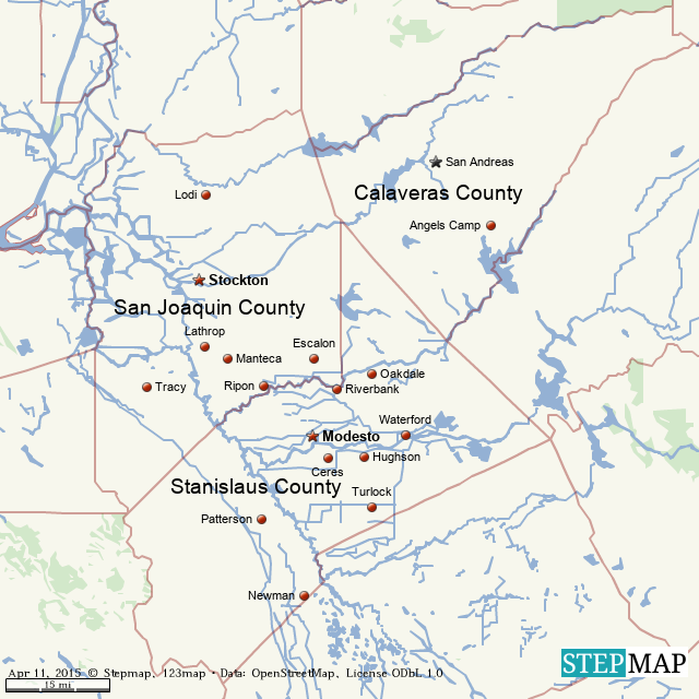 StepMap - Middle Central Valley, California - Landkarte für ... on fresno county map, calaveras county map, city of stockton map, sacramento county map, shasta county map, alameda county map, solano county map, yolo county map, santa cruz county map, santa clara county map, sonoma county map, tulare county map, stanislaus county map, contra costa county map, los angeles county map, napa county map, merced county map, orange county map, lake county map, california map,