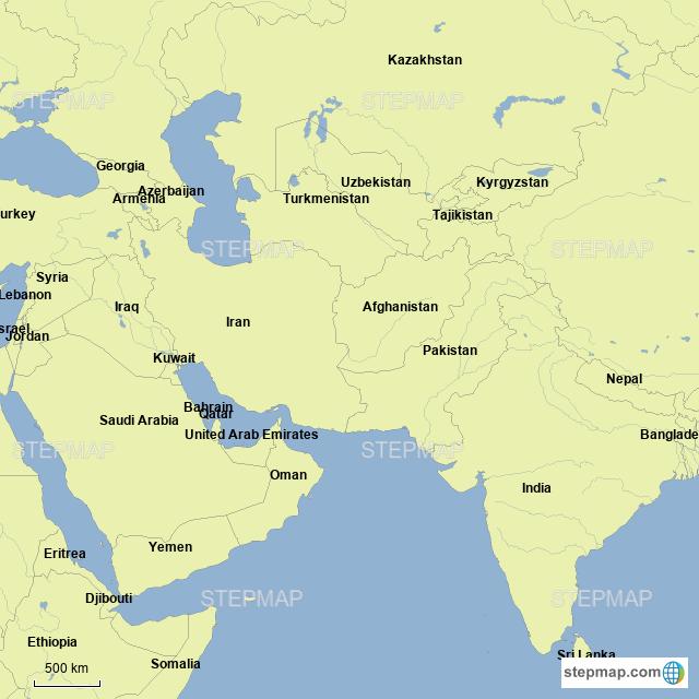 Stepmap Middle East India Pakistan Landkarte Fur Asia