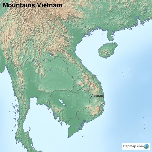 Mountains In Vietnam Map.Stepmap Mountains Vietnam Landkarte Fur Vietnam