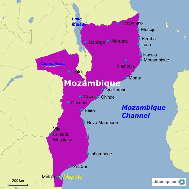 StepMap - Mozambique - Landkarte für Africa on