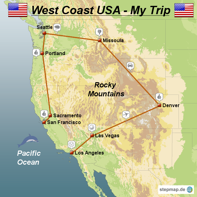 StepMap - My USA Trip - Landkarte für USA