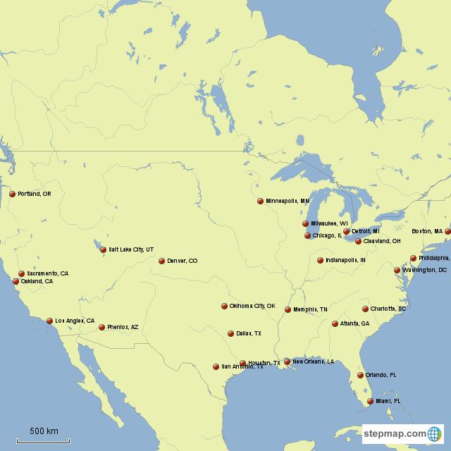 StepMap - NBA Teams Location (US only) - Landkarte für North ...