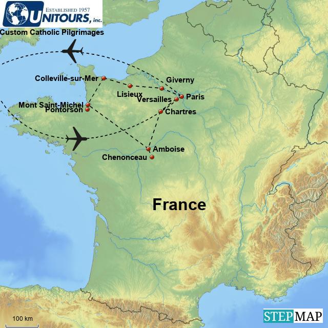 Map Of France Giverny.Stepmap Nacius Catholic France Pilgrimage 11 Days Landkarte Fur