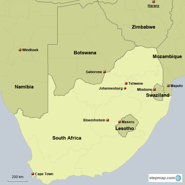 StepMap - Neighbouring Countries of South Africa and their capitals ...