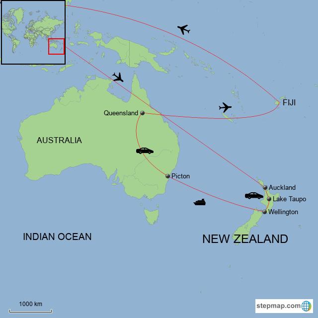 Map Of Australia New Zealand And Fiji.Stepmap New Zealand And Fiji Explorer Landkarte Fur Fiji