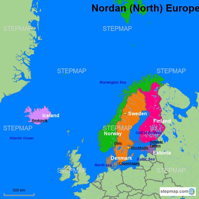 StepMap - Nordan (North) Europe - Landkarte für Germany
