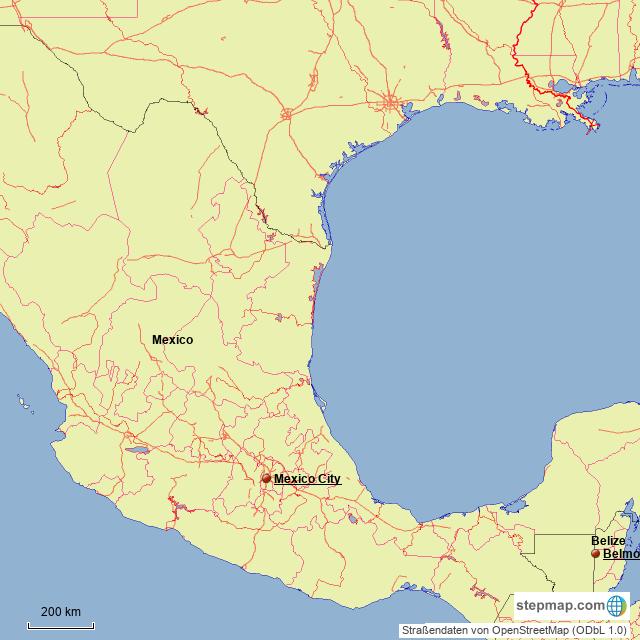 StepMap - North/Central America - Landkarte für Belize