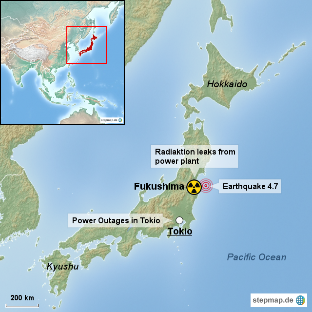 Stepmap Nuclear Crisis In Japan Landkarte Fur Japan
