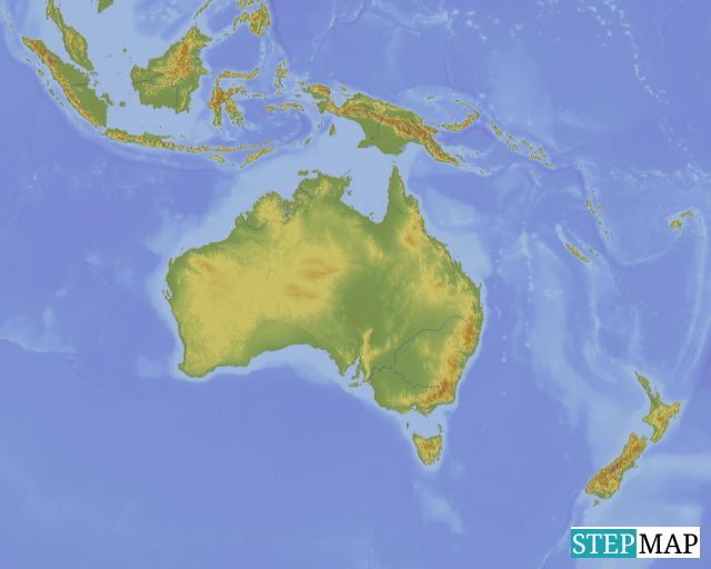 StepMap - Oceania Topographic