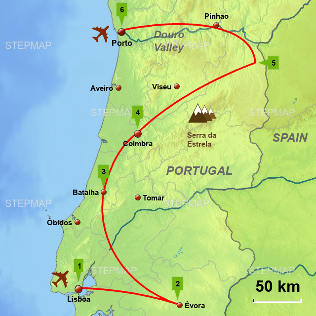 Map Of Northern Spain And Portugal.Stepmap Po16 Grand Tour Of Portugal Square Web Map Landkarte Fur