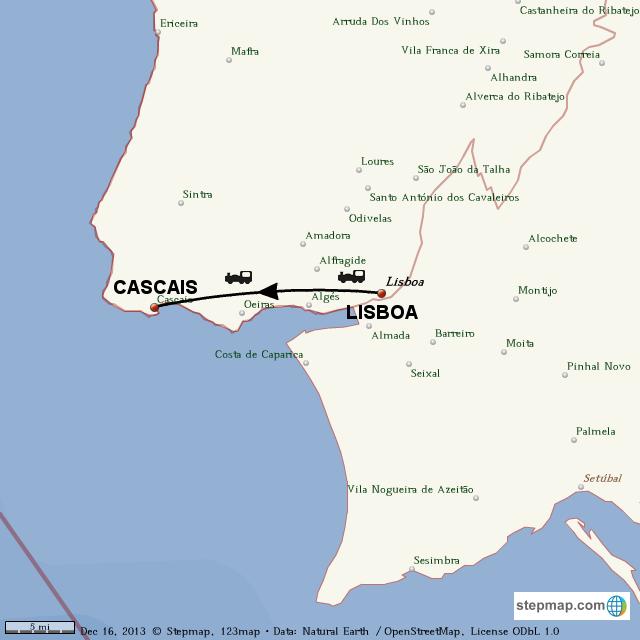 StepMap - PORTUGAL LISBOA CASCAIS - Landkarte für World on