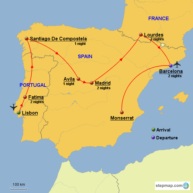Map Of Portugal And Spain And France.Stepmap Portugal Spain France Landkarte Fur Europe