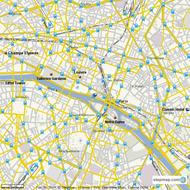 Stepmap Paris Map Landkarte Fur World