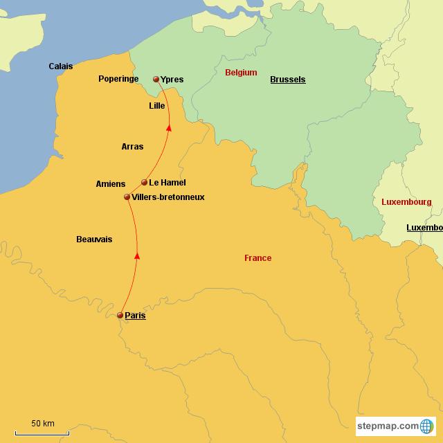 Map Of France Showing Lille.Stepmap Paris To Ypres Landkarte Fur France