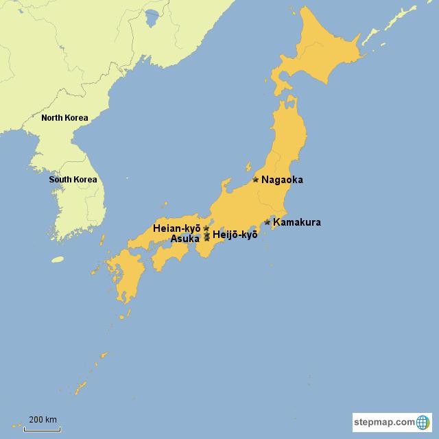 Stepmap Past Capitals Of Post Classical Era Japan Landkarte Fur