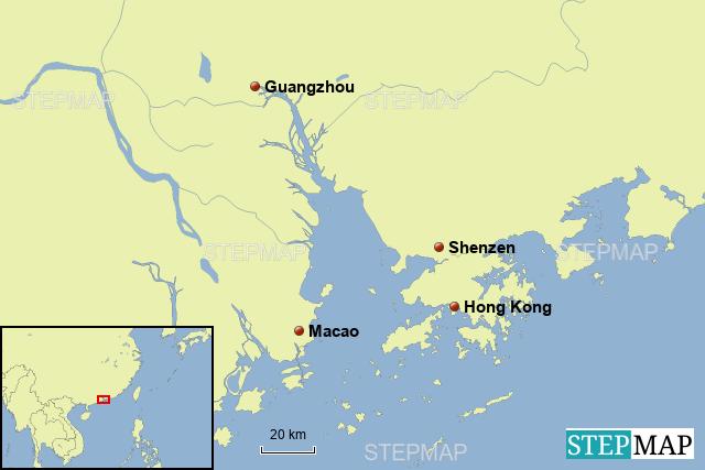 StepMap - Pearl River Delta - Landkarte für Asia on