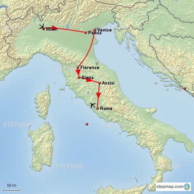 Stepmap Pilgrimage To Italy Landkarte Fur Italy