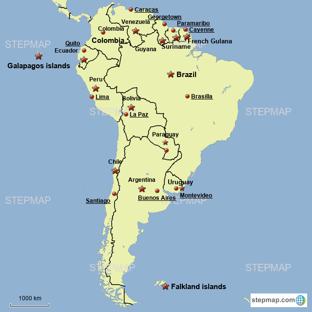 Map Of South America 2017.Stepmap Political Map Of South America Landkarte Fur Germany