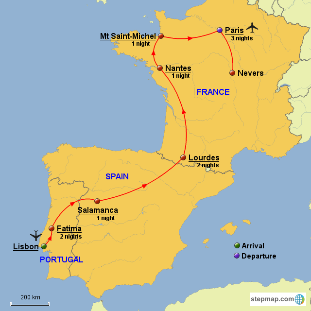 Map Of Spain And France And Portugal.Stepmap Portugal Spain France Landkarte Fur Europe