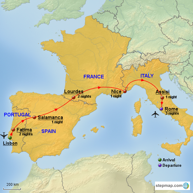 StepMap - Portugal, Spain, France, Italy - Landkarte für Europe