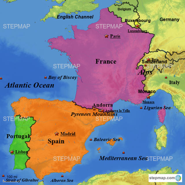 Map Of France In English.Stepmap Portugal Spain And France Landkarte Fur Europe