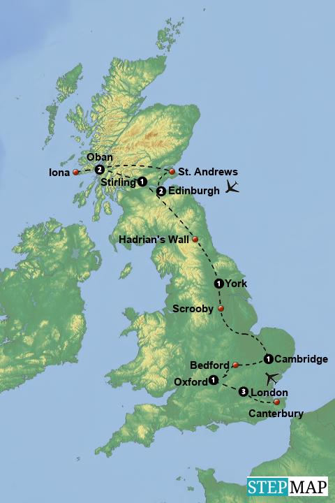 Scrooby England Map.Stepmap Presbyterian Heritage Of Scotland And England Landkarte