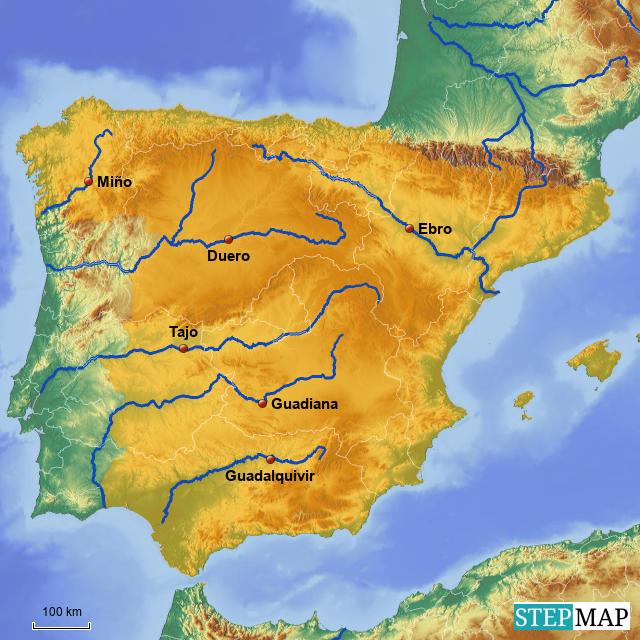 Mapa Hidrografico De España.Stepmap Rios De Espana Landkarte Fur Spain