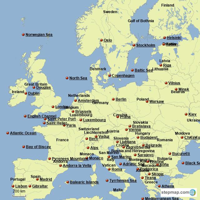 Warsaw Europe Map.Stepmap Rachel S Europe Map Landkarte Fur Germany