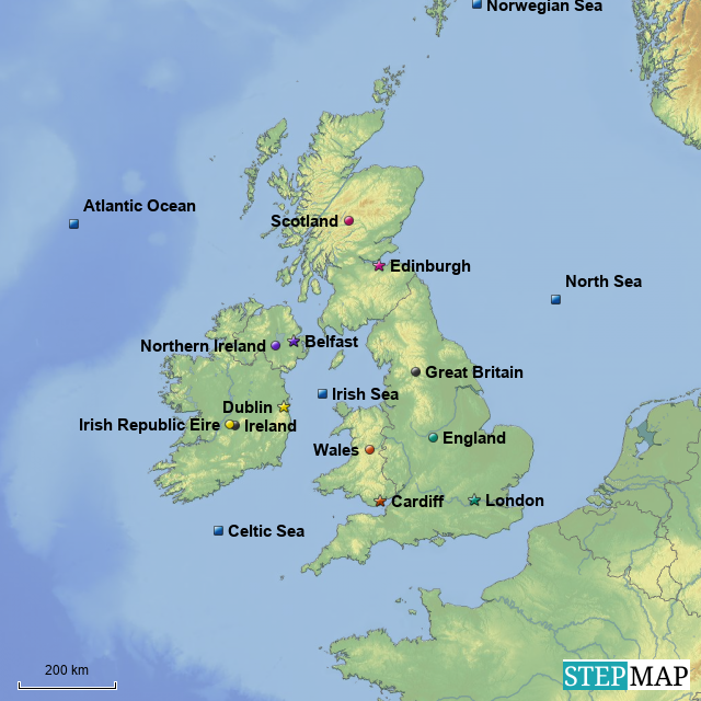 Stepmap Region The British Isles Landkarte Fur Europe