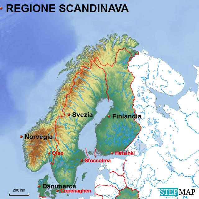 Stepmap Regione Scandinava Landkarte Für Europe