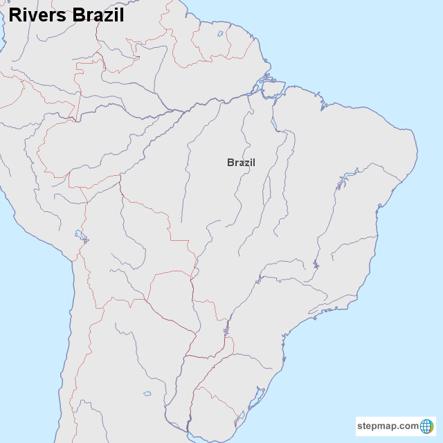 map of rivers in brazil Stepmap Rivers Brazil Landkarte Fur Brazil map of rivers in brazil